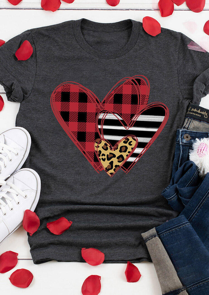 Valentine's Day Love Print Round Neck Short Sleeve Top