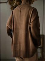 Khaki Long Sleeve Turtleneck Solid Casual Sweater