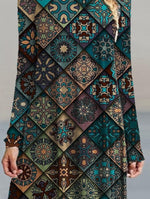 Green Long Sleeve A-Line Casual Printed Dresses
