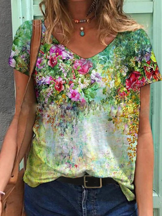 Casual V Neck Short Sleeve Floral Shirts & Tops
