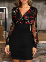 V Neck Floral Long Sleeve Work Dresses