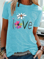 Sky Blue Short Sleeve Crew Neck Casual Floral Shirts & Tops