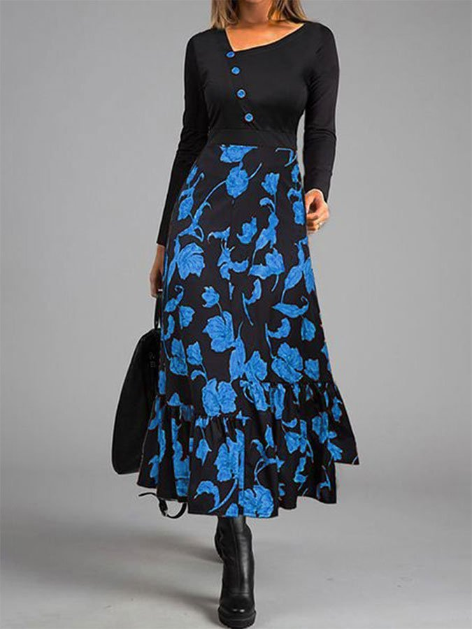 Leaf Print Diagonal Collar Winter Casual Dress