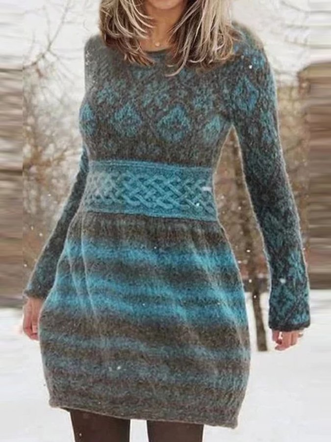 Gray Crew Neck Long Sleeve Paisley Dresses