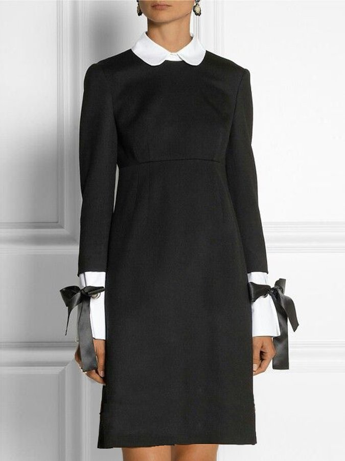 Long Sleeve Color-Block Solid Dress