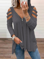Casual Long Sleeve V Neck Cotton Shirts & Tops