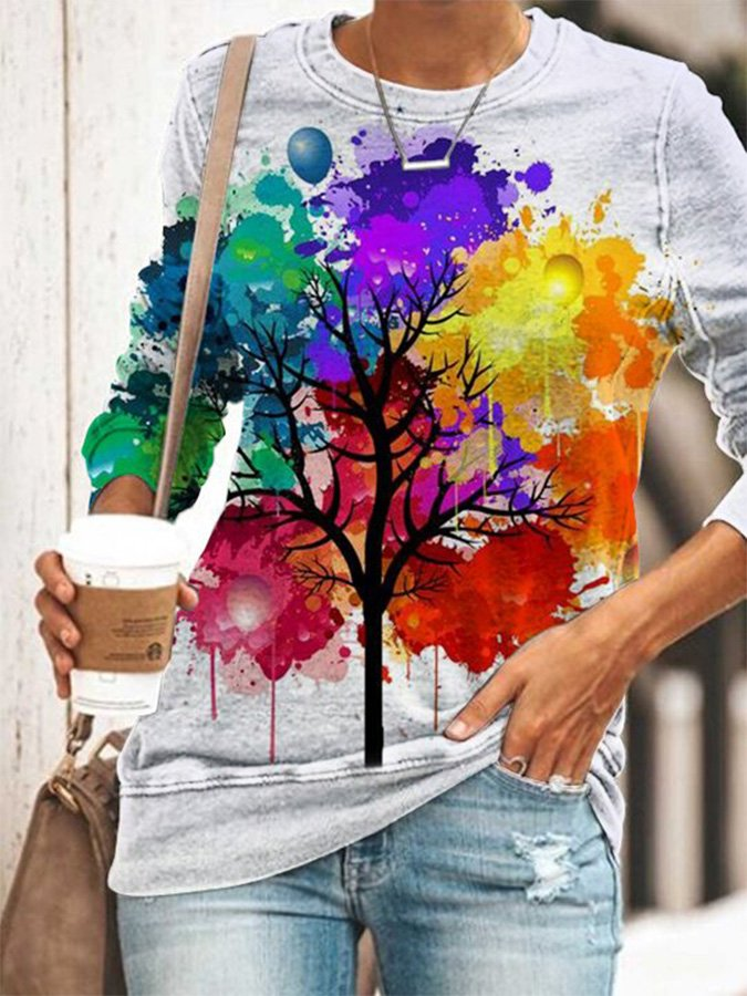Women's Colorful Tree Printed Shirts & Tops