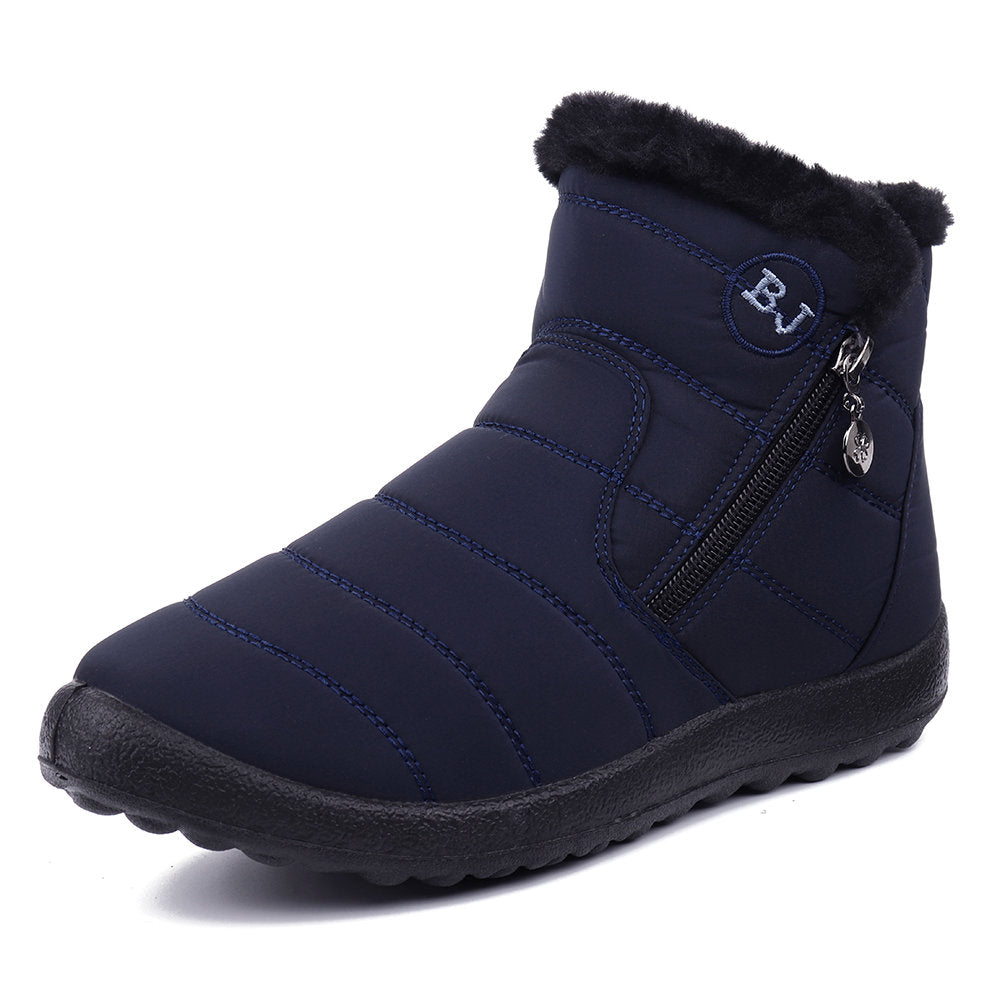 Women Waterproof Warm Lining Zipper Soft Sole Ankle Snow Boots