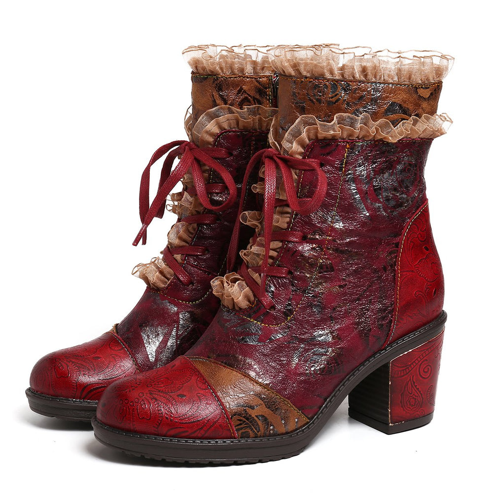 Women's Handmade Leather Ankle Boots Bohemian Splicing Pattern Shoes