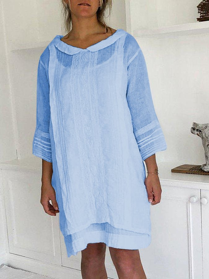 Doll Collar Pleated Hem Buttoned 3/4 Sleeve Line Dresses