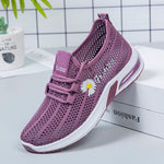 Women Athletic Flat Heel Hollow Floral Embroidered Sneakers