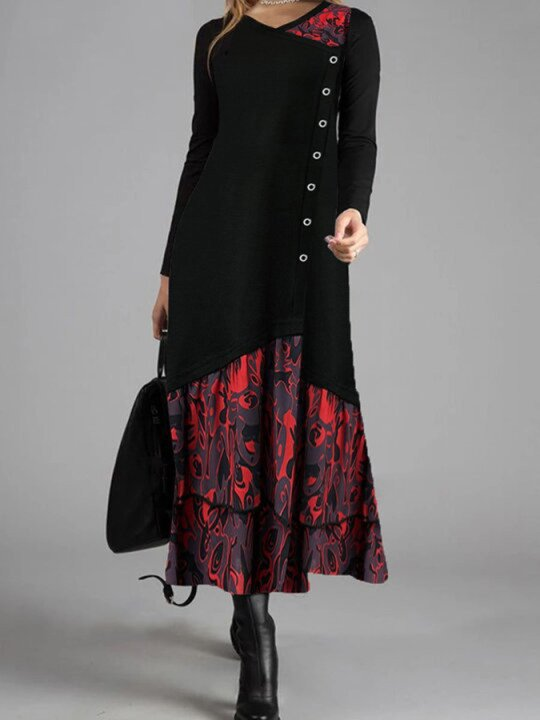 Winter Long-sleeved Abstract Print Casual Dress