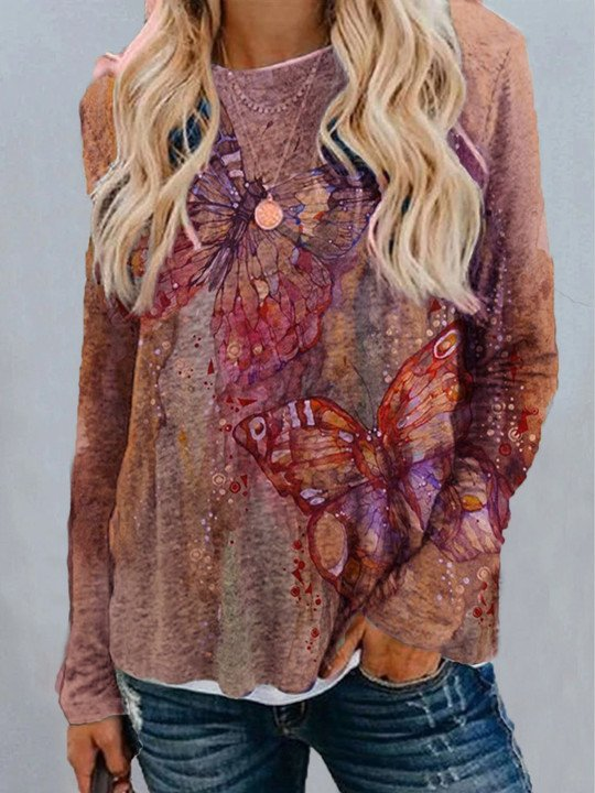 Casual Printed Crew Neck Long Sleeve Tops