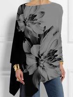 Crew Neck Floral Cotton-Blend Casual Shirts & Tops