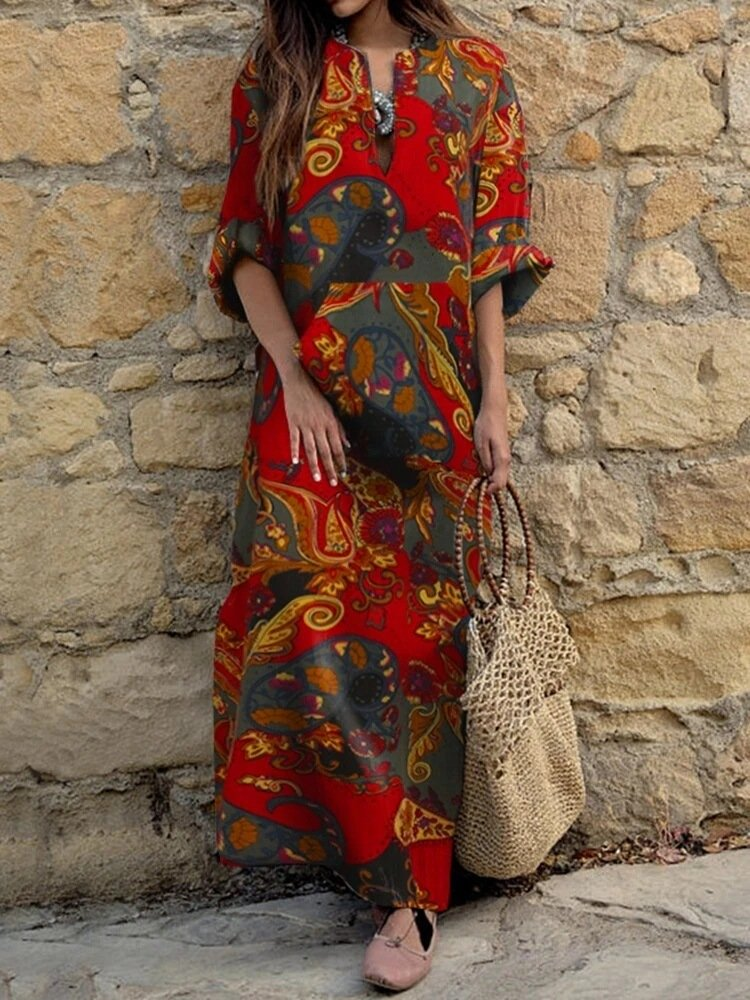 V Neck Printed Vintage Dress