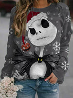Crew Neck Printed Christmas Snowman Shirts & Tops