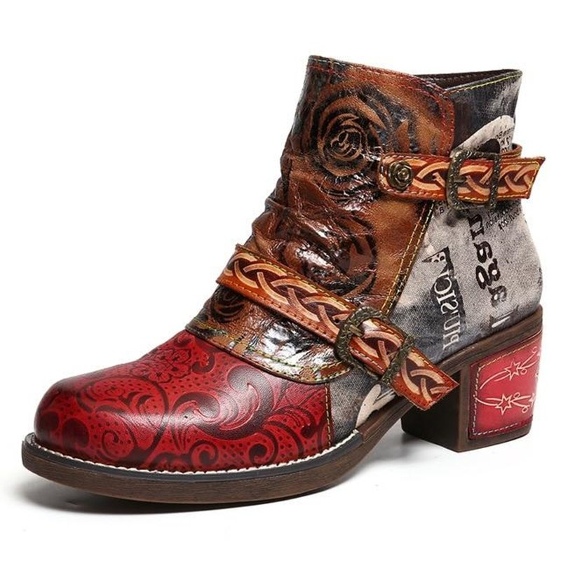Flower Faux Leather Daily Boots