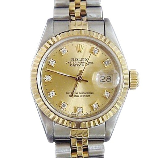 Ladies Rolex Two-Tone 18K/SS Datejust Champagne Diamond 69173 PRE-OWNED
