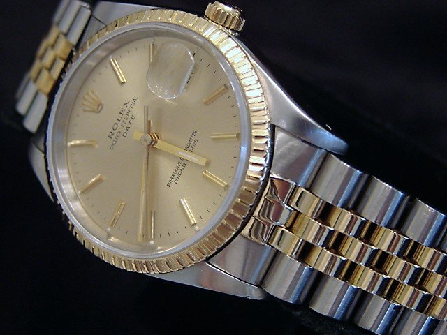 Men's Rolex Two-Tone 18K/SS Date Champagne 15223 PRE-OWNED