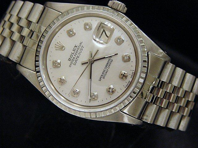 Men's Rolex Stainless Steel Datejust White MOP Diamond 1603 PRE-OWNED