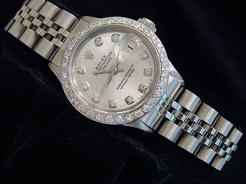 Ladies Rolex Stainless Steel Datejust Silver Diamond PRE-OWNED - Global Timez