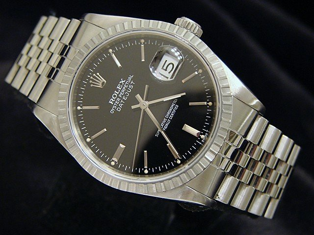 Men's Rolex Stainless Steel Datejust Black 16220 PRE-OWNED