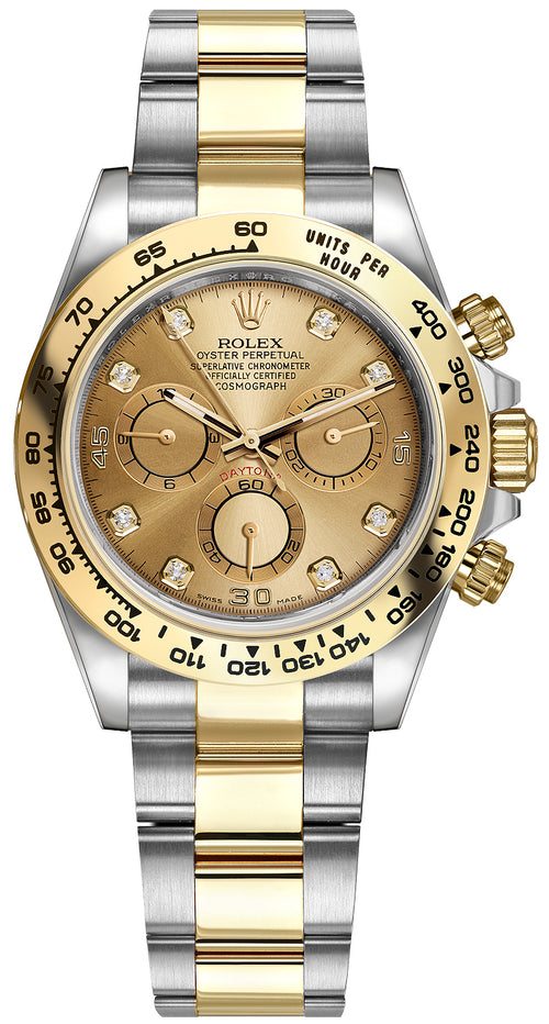 Men's Rolex Daytona Yellow Gold/Steel Champagne Diamond Dial Yellow Gold Bezel Oyster Bracelet 116503 - BRAND NEW