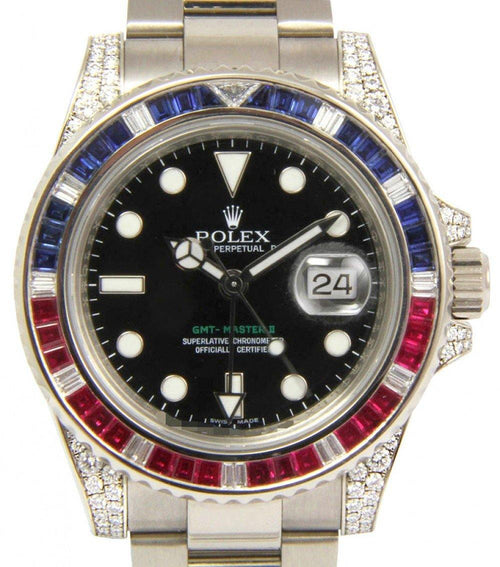 Men's Rolex GMT Master II 116759SARU Ruby Sapphire Diamond 18k White Gold PRE-OWNED - Global Timez