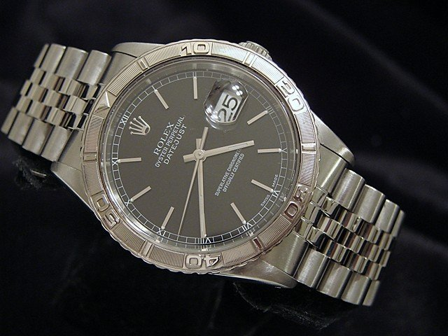 Men's Rolex Stainless Steel Datejust Turn-O-Graph Black 16264 PRE-OWNED