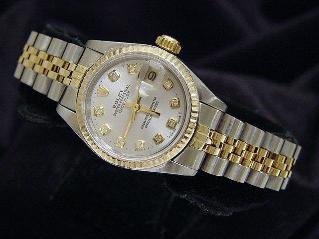 Ladies Rolex Two-Tone Datejust Silver Diamond 69173 PRE-OWNED - Global Timez