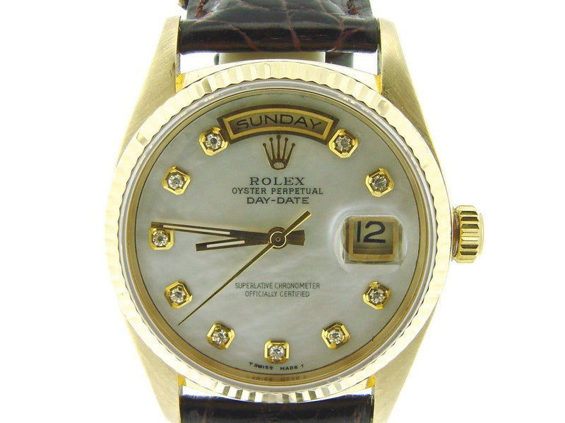 Men's Rolex 18K Gold Day-Date President White MOP Diamond 18038 PRE-OWNED