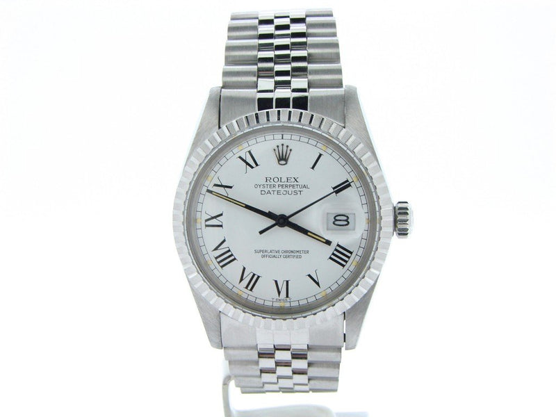 Men's Rolex Stainless Steel Datejust White Roman 16030 PRE-OWNED