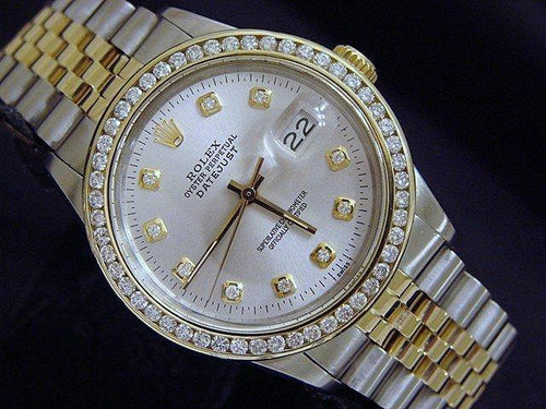 Men's Rolex Two-Tone 18K/SS Datejust Silver Diamond 16013 PRE-OWNED - Global Timez