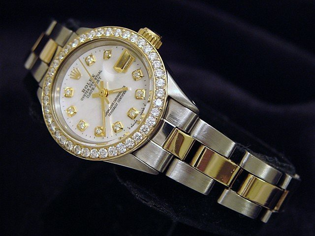 Ladies Rolex Two-Tone 14K/SS Datejust White MOP Diamond PRE-OWNED