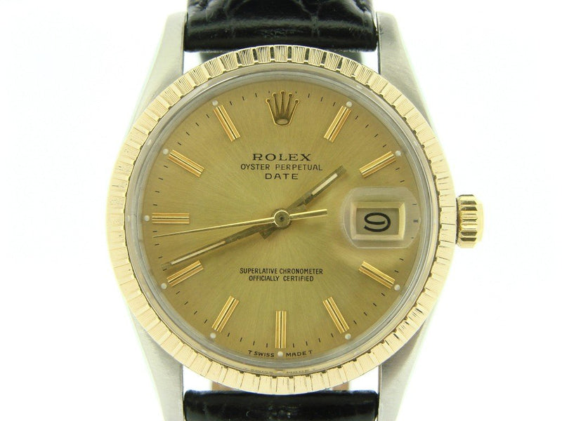 Men's Rolex Two-Tone Date Champagne 15053 PRE-OWNED