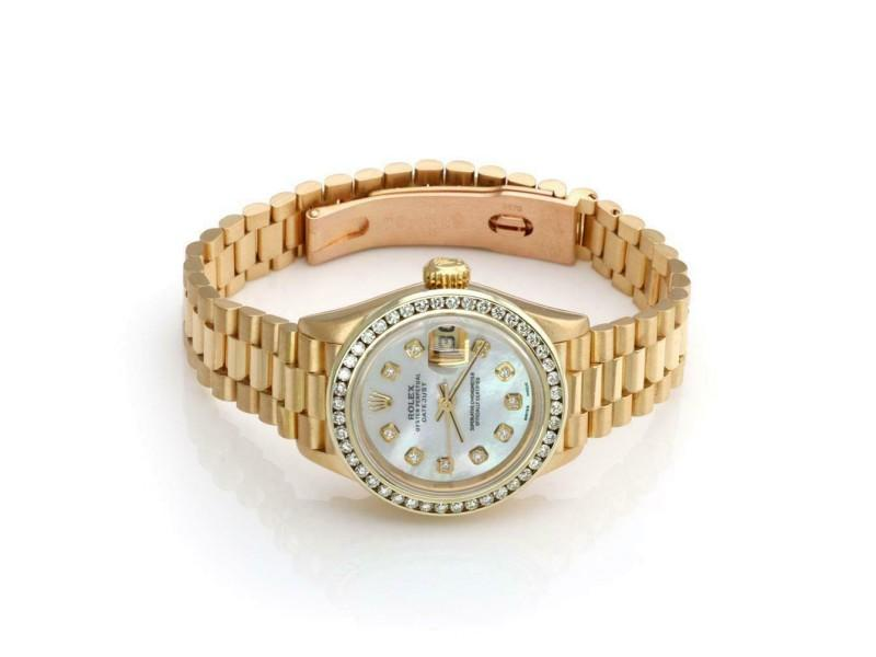 Men's Rolex Oyster Date Just Mother Of Pearl Diamond Bezel 18k Gold Watch Paper PRE-OWNED