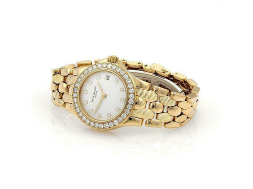 Ladies 50502 Patek Philippe Neptune 1ct Diamonds 18k Yellow Gold Date Ladies Watch PRE-OWNED - Global Timez
