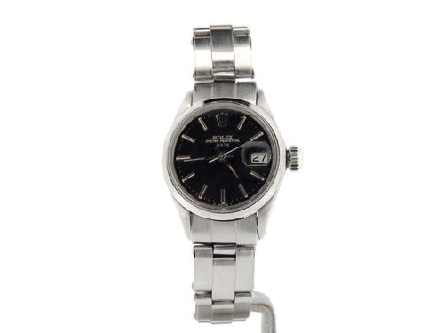 Ladies Rolex Stainless Steel Date Black 6516 PRE-OWNED - Global Timez