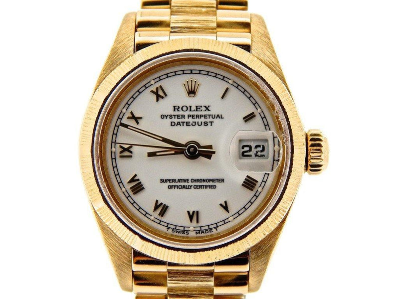 Ladies Rolex 18K Yellow Gold Datejust President White Roman 69278 PRE-OWNED - Global Timez
