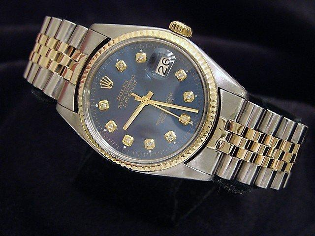 Men's Rolex Two-Tone 14K/SS Datejust Blue Diamond 16013 PRE-OWNED