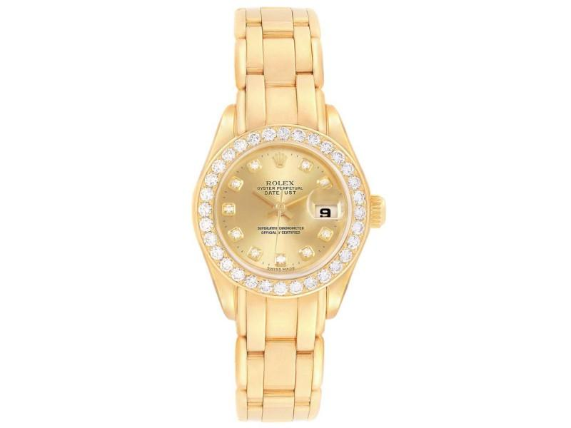 Ladies Rolex Pearlmaster Yellow Gold Diamond Ladies Watch 69298 PRE-OWNED
