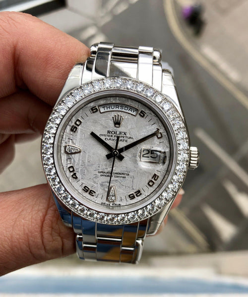 Men's Rolex PLATINUM DIAMOND PEARLMASTER - PRE-OWNED - Global Timez