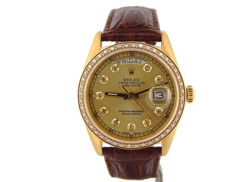 Men's Rolex 18K Gold Day-Date President Champagne Diamond 18038 PRE-OWNED