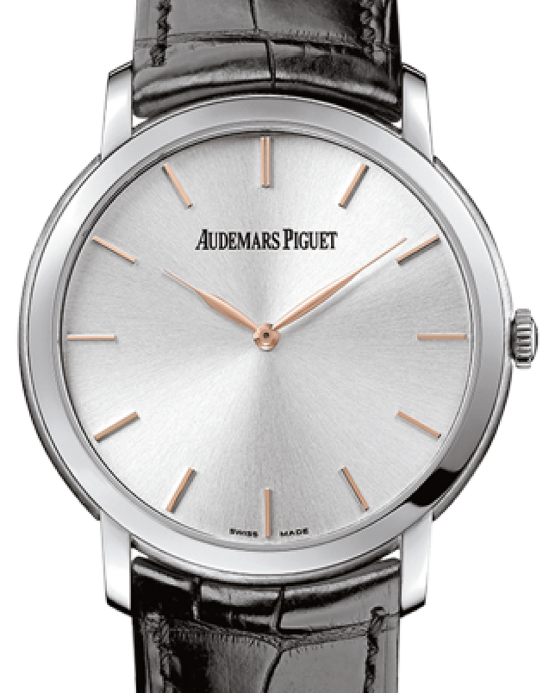 Men's Audemars Piguet 15180BC.OO.A002CR.01 Jules Audemars Extra-Thin 41mm Silver Index White Gold Leather BRAND NEW
