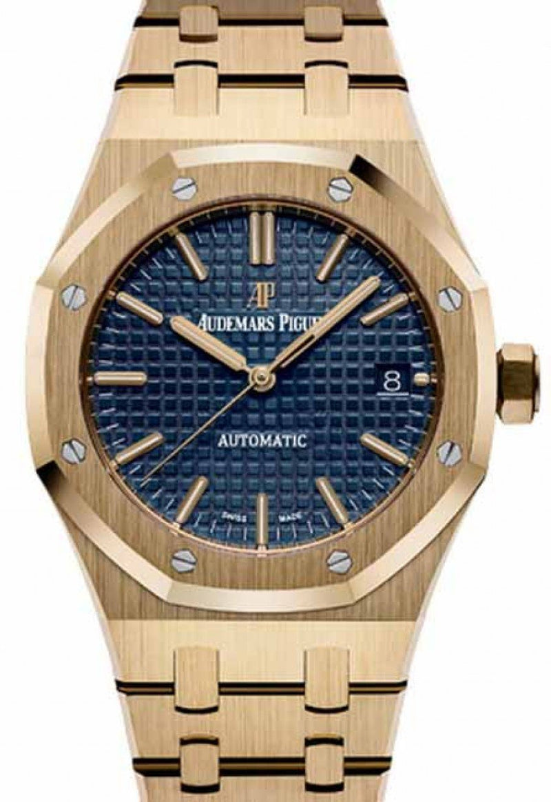 Men's Audemars Piguet 15450BA.OO.1256BA.02 Royal Oak Selfwinding 37mm Blue Index Yellow Gold - BRAND NEW