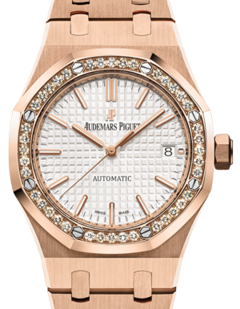 Men's Audemars Piguet 15451OR.ZZ.1256OR.01 Royal Oak Selfwinding 37mm Silver Index Diamond Bezel Rose Gold - BRAND NEW
