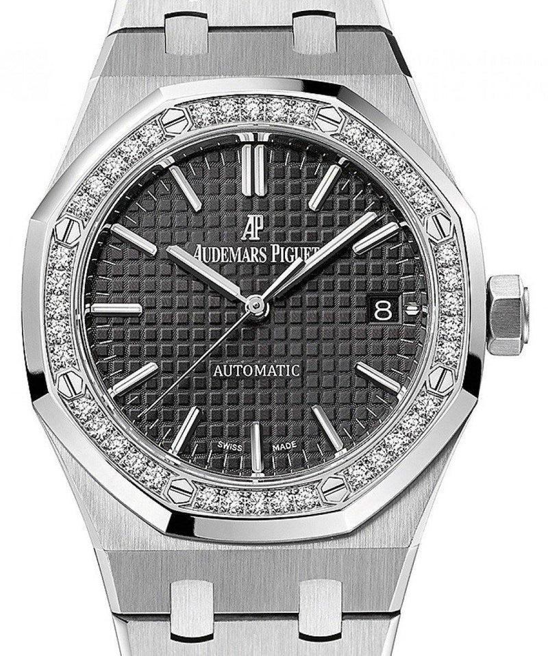 Ladies Audemars Piguet 15451ST.ZZ.1256ST.01 Royal Oak Automatic 37mm Black Diamond Steel BRAND NEW