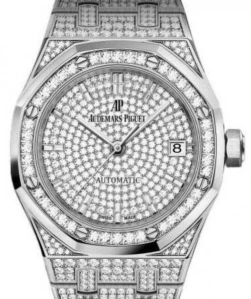 Men's Audemars Piguet Royal Oak Selfwinding 15452BC.ZZ.1258BC.01 Diamond Paved Diamond Set White Gold 37mm - BRAND NEW - Global Timez