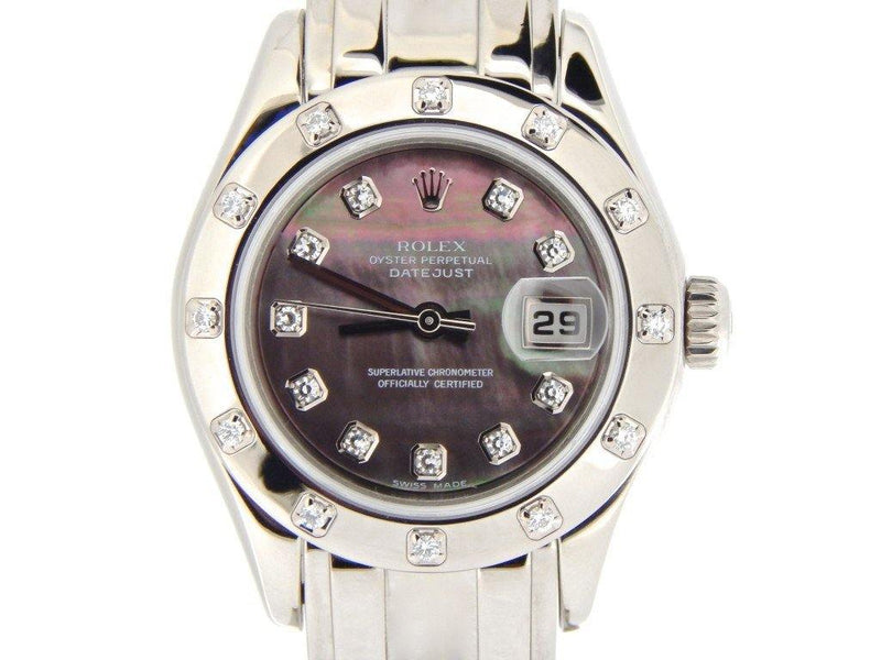 Ladies Rolex 18K White Gold Datejust Pearlmaster Tahitian Diamond 80319 PRE-OWNED