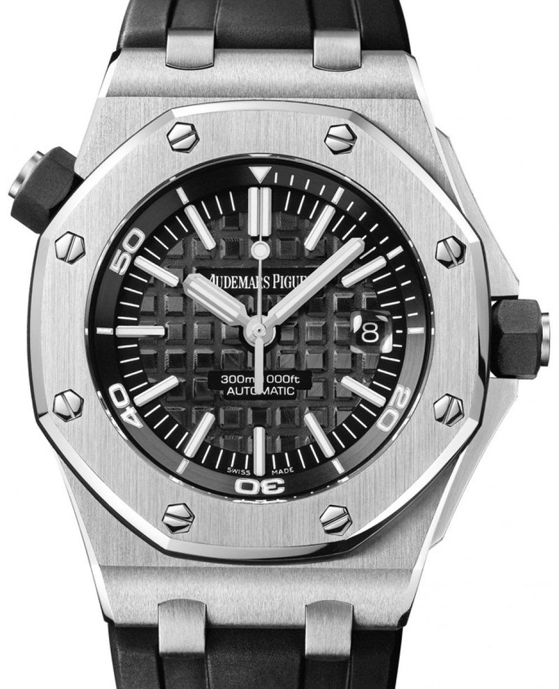 Men's Audemars Piguet 15703ST.OO.A002CA.01 Royal Oak Offshore Diver 42mm Black Index Stainless Steel Rubber Automatic BRAND NEW
